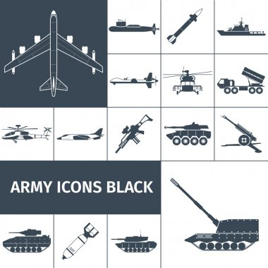 Army weapon icons black set with jet fighter aircraft rifle helicopter isolated vector illustration stock vector