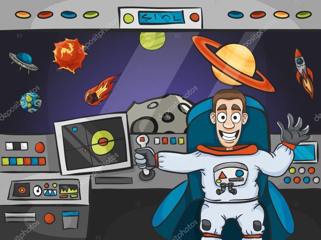 Astronaut In Spaceship Stock Vector 71548989