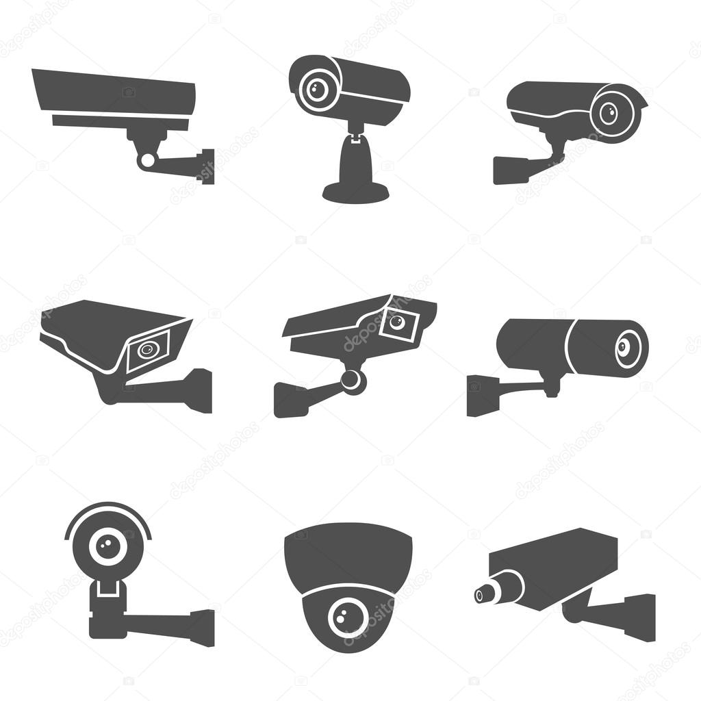 Stock Illustration Surveillance Camera Icons on cctv camera drawing