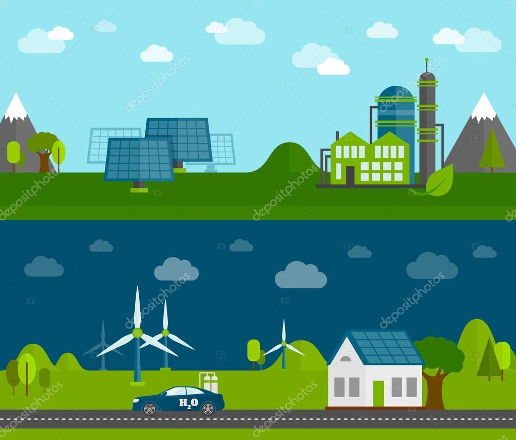 Eco energy flat banners set