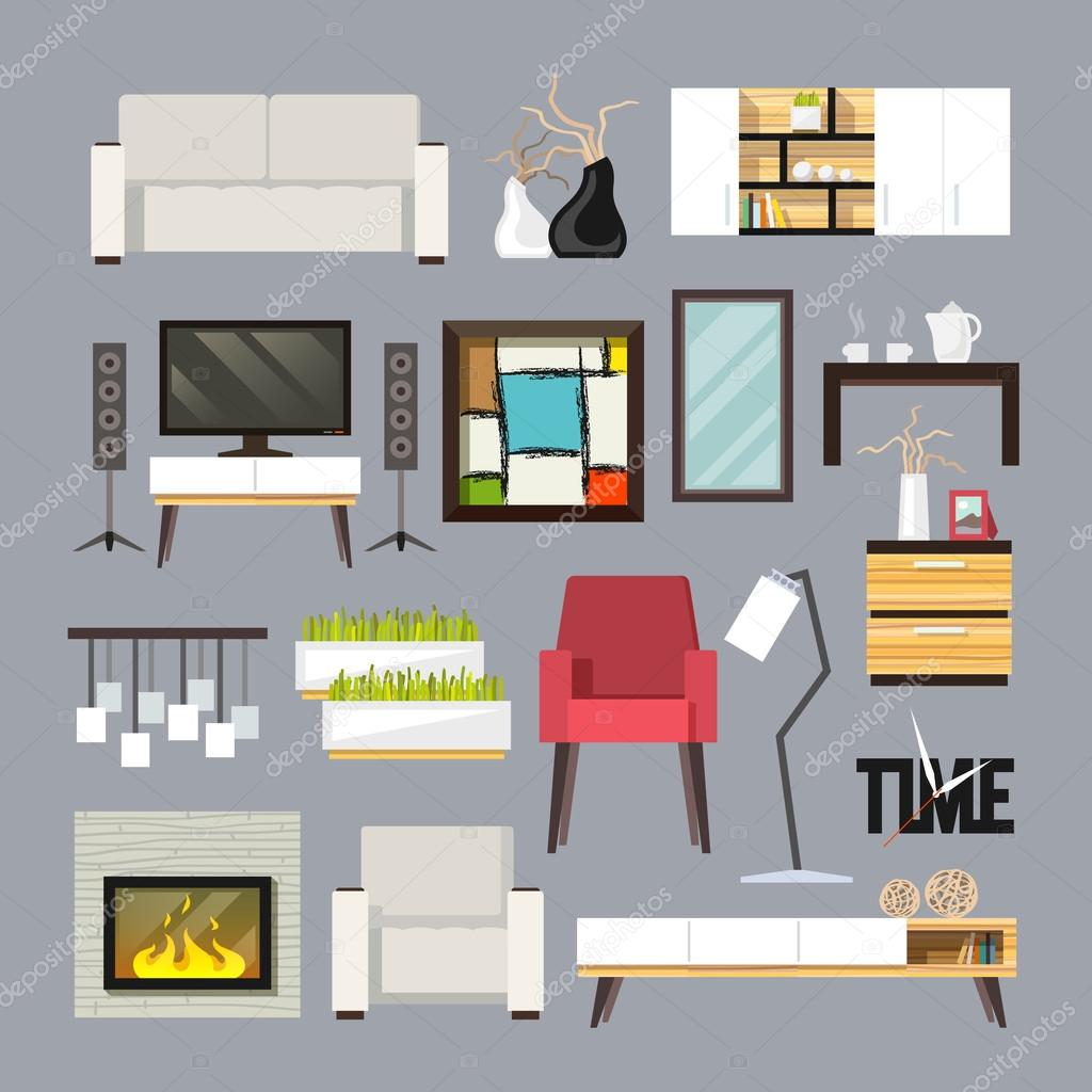 woonkamer meubels set — Stockvector © macrovector #71549399