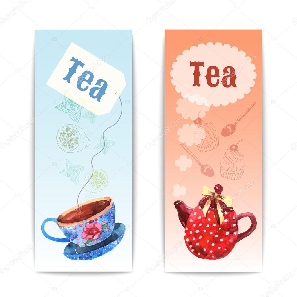 Watercolor Tea Banner
