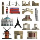 Cestovní mezník ploché ikony nastavit