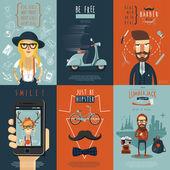 Hipster ploché ikony složení plakát
