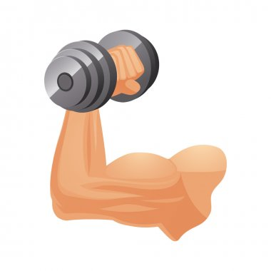 Brawny arm with dumbbell