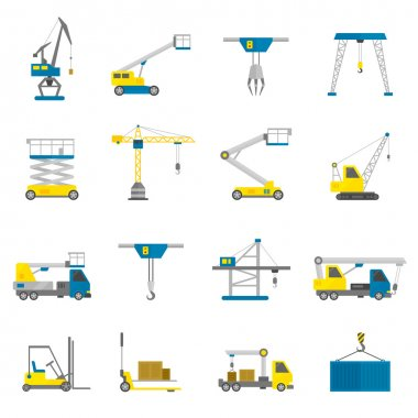 Lifting Equipment Flat Icon Set