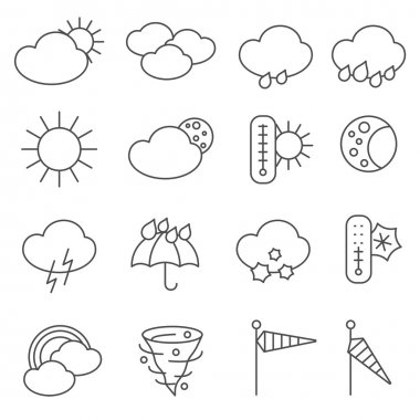Weather forecast icons outlined pictograms set with rain drops and umbrella symbols black abstract isolated vector illustration clip art vector