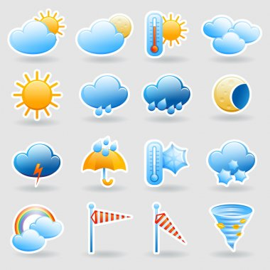 Weather forecast tablet mobile symbols widget icons set with clouds and rainbow abstract flat isolated vector illustration clip art vector