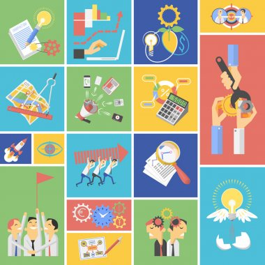 Business teamwork concept flat icons set