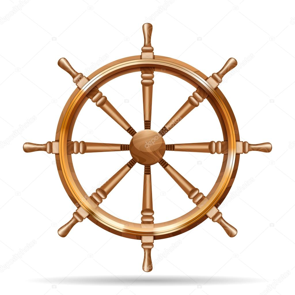 Antique wooden ship wheel