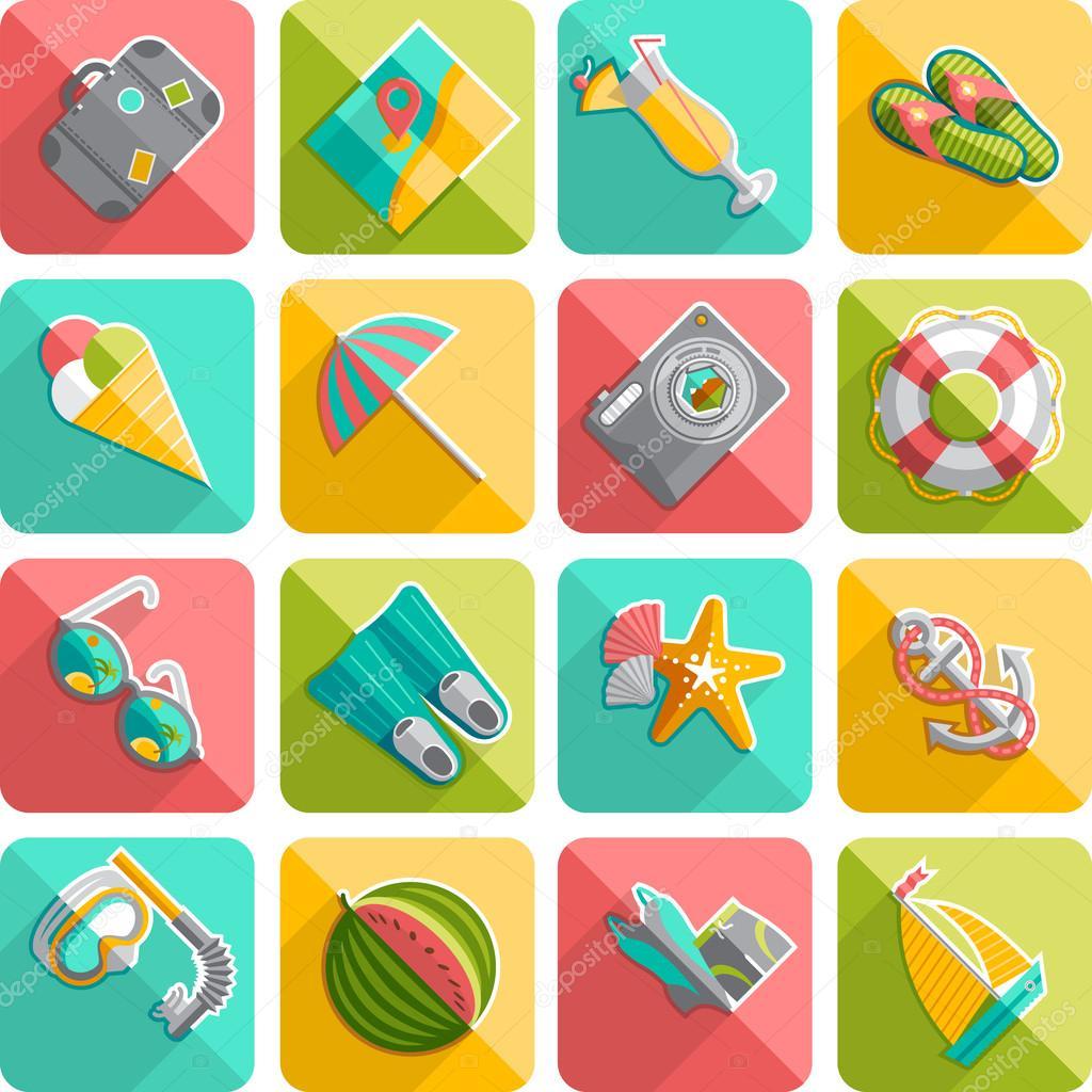 Summer vacation icons flat diagonal slanted