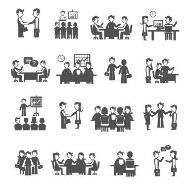 Meeting Icons Black Set