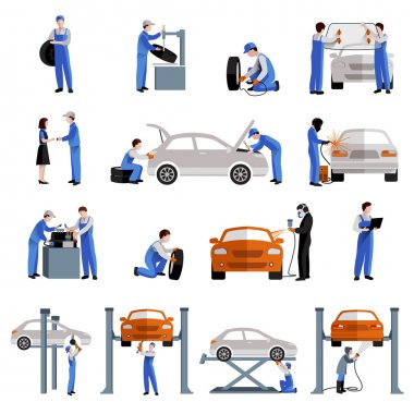 Auto mechanic car service repair and maintenance work icons set isolated vector illustration stock vector