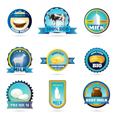 Eco farm milk dairy products labels