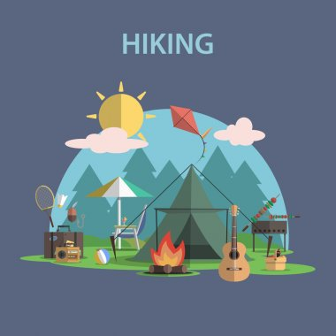 Hiking Concept Flat