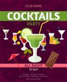 Fotografie Tropische Cocktails Nacht Partei Einladung poster