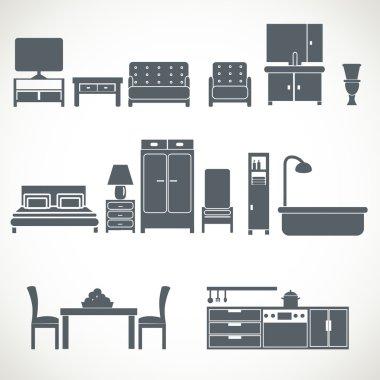 Home furniture design blackicons set