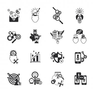 Business analysis icons set black