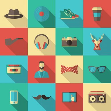 Hipster Flat Icon Set
