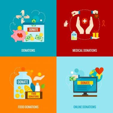 Charity design concept set with food and medical donations flat icons isolated vector illustration stock vector