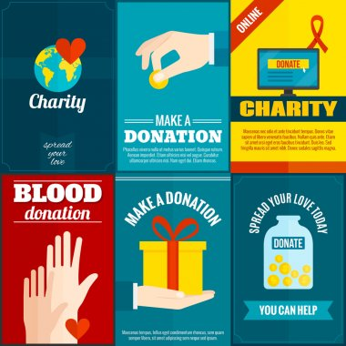 Charity mini posters set with money and blood donation flat isolated vector illustration stock vector