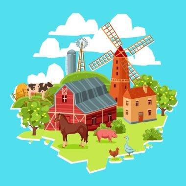 Farm multicolored concept