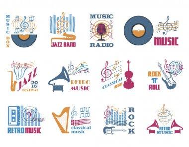 Retro music emblems