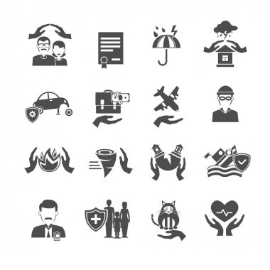 Insurance Icons Black Set