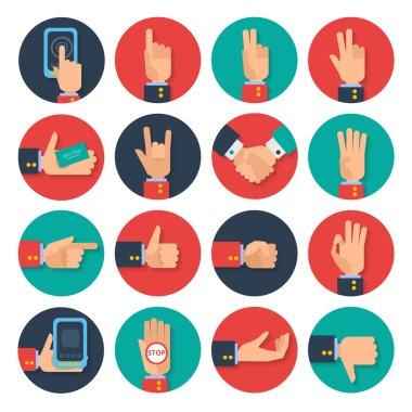 Hands icons set flat