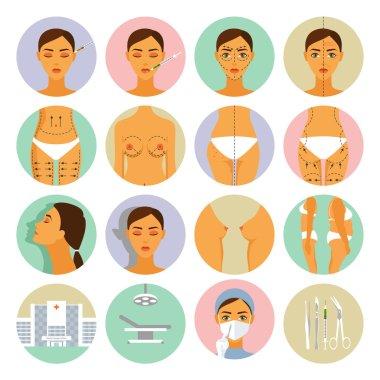 Plastic surgery icons set