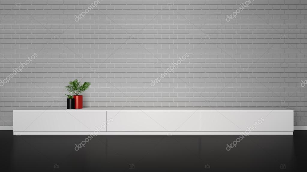 Minimalistische interieur met kast tafel met planten u stockvector