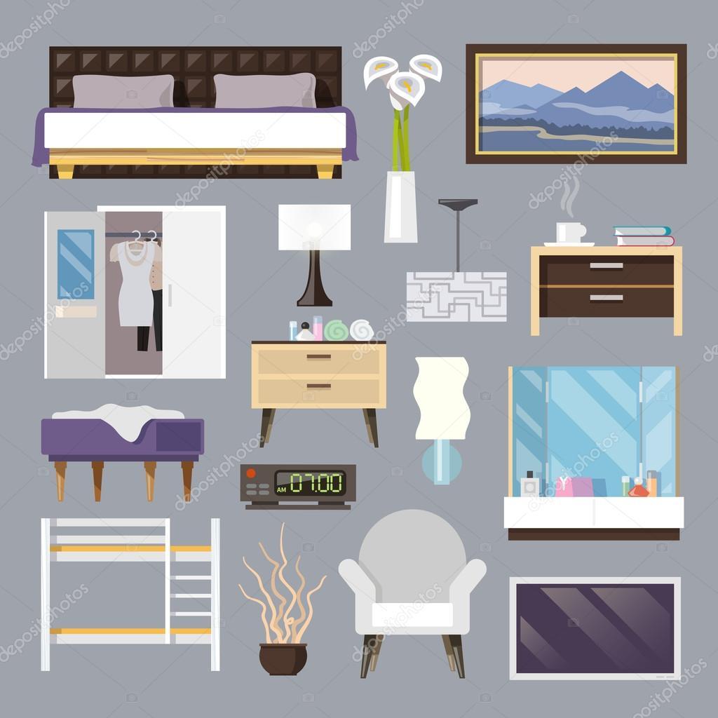 Bedroom Furniture Flat Icons Set Stock Vector C Macrovector 74009023