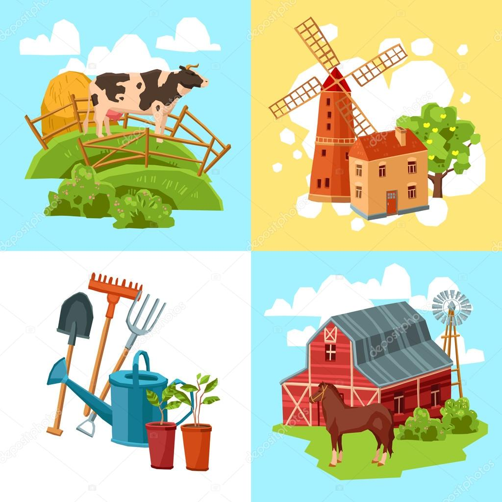 Farm design flat concept set