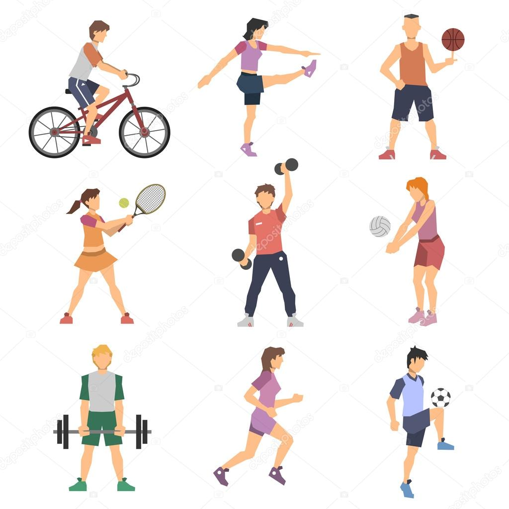 Sport People Flat Icons Set
