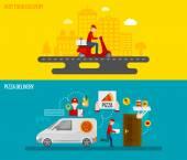 Fotografia banner di consegna fast food e pizza