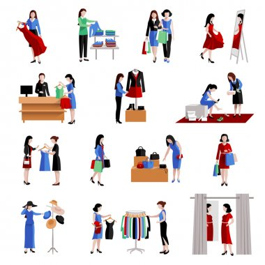 Woman Shopping Icons