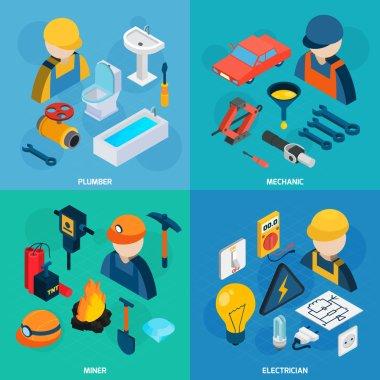 Technic Professions Isometric Icon Set