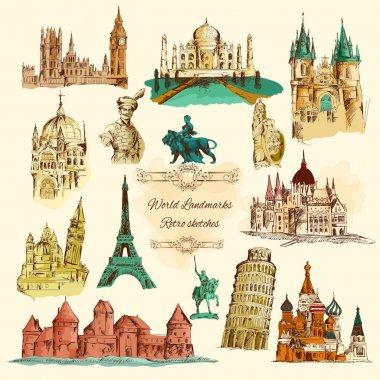 World Landmarks Sketch Vintage Icons Set