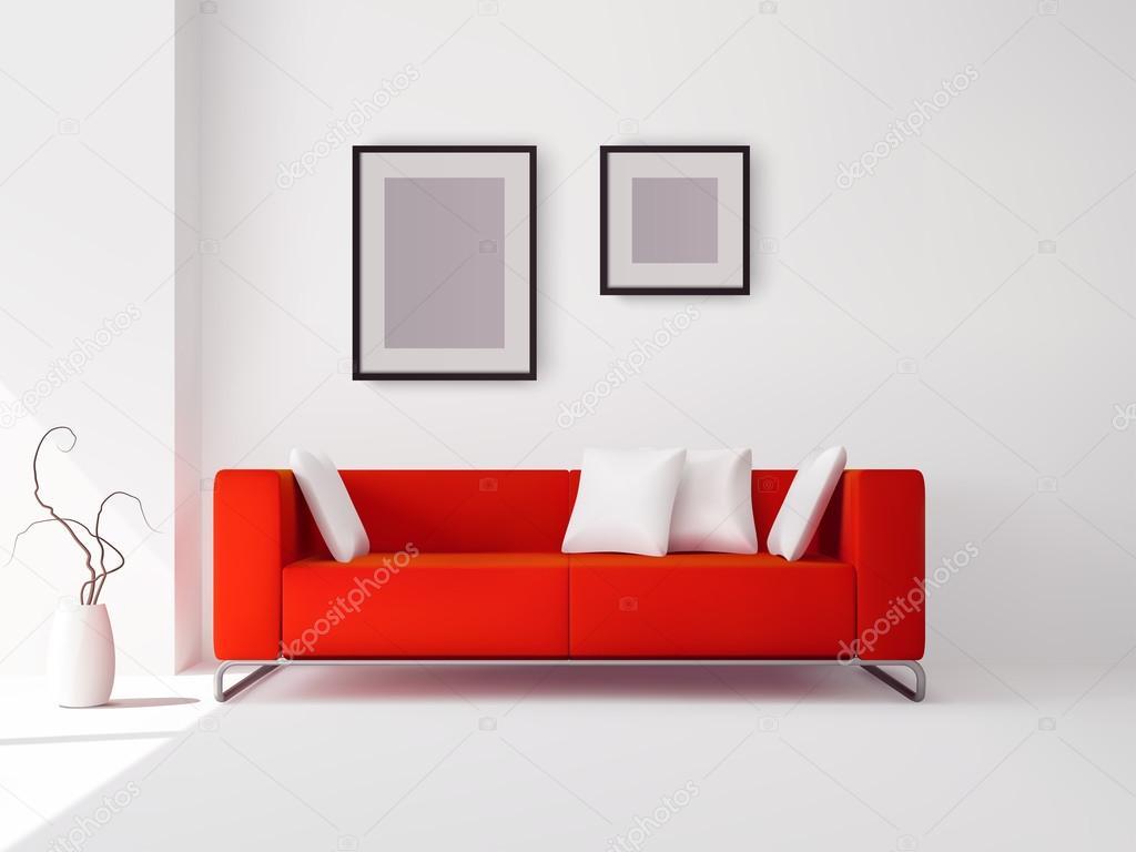 Sof Vermelho Com Almofadas E Quadros Vetores De Stock  -> Papel De Parede Para Sala Com Sofa Vermelho