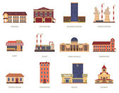 City buildings vintage icons set