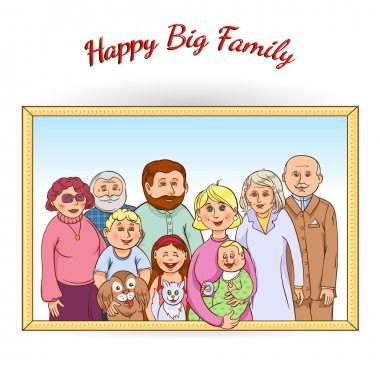 Happy family framed portrait