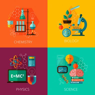 Science concept 4 flat icon composition icons