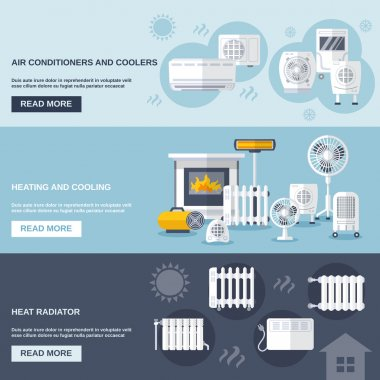 Heating and cooling banner set with conditioner flat elements isolated vector illustration clip art vector