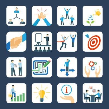 Mentoring flat icons set