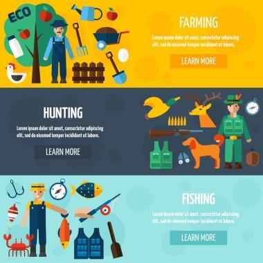 Fisherman Hunting And Farmer Banner Set