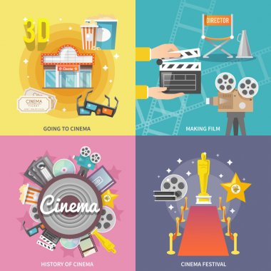 Historical cinema festival movie theater entrance tickets set 4 flat icons square composition abstract isolated vector illustration stock vector