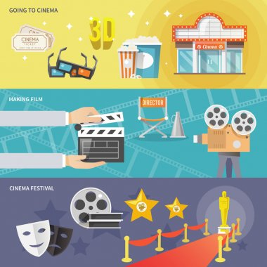 Cinema horizontal banners set