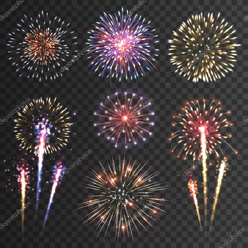 Firework pictograms black background set
