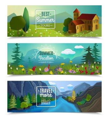 Summer landscape horizontal banners set