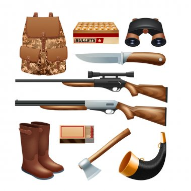 Hunting tackle and equipment icons set